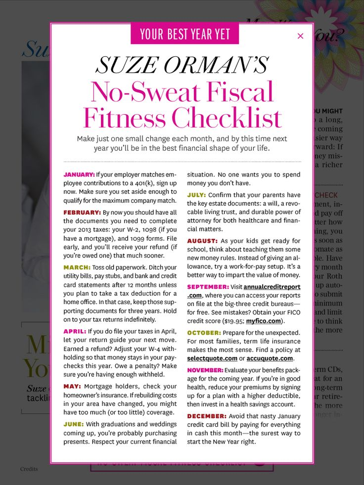 Suze Orman's No-Sweat Fiscal Fitness Checklist