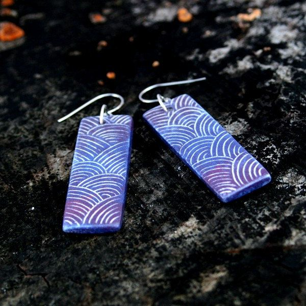 Ceramic earrings - shiny ranbow, gradient colors, tourquoise, blue, indigo by Brekszer on Etsy