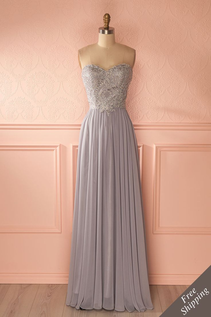 Robe de bal longue grise avec buste brodé de cristaux - Gray crystals embroidered bust prom dress
