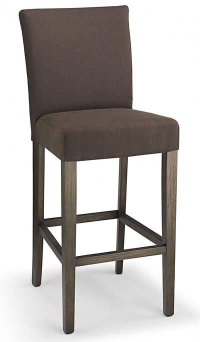 Promitey Brown Fabric Seat Kitchen Breakfast Bar Stool Wooden Frame Fully Embled