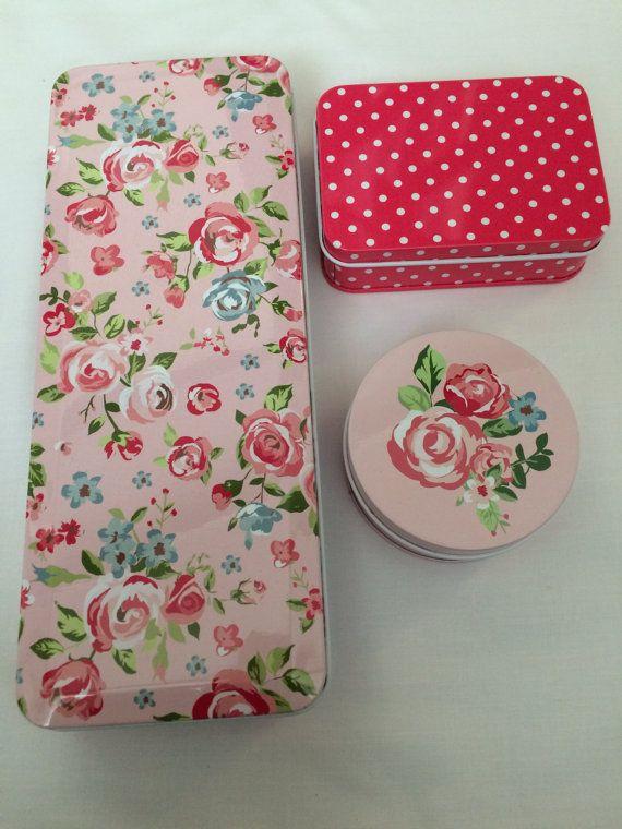 Set of three storage tins