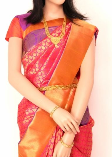 Pink with Purple Colored Bindi Butta Body with Bavanji Tissue Border Exclusive Wedding Pure Silk Kanchipuram Saree. http://www.shreedevitextile.com/women/sarees/silk-saree/shree-devi/pink-with-purple-colored-kanchipuram-pure-silk-saree
