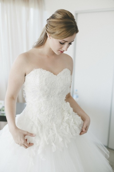 Wedding dress by Linda Britten  I love how perfect the strapless bodice sits