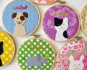 Personalizado bastidor de bordado personalizado gato cão parede elefante decoração do berçário nome pastel animais - decoração da sala de crianças personalizadas