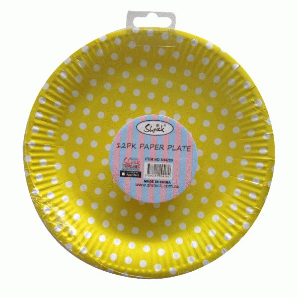 YELLOW DOTS Shmick 23cm 12 pack for $6.90
