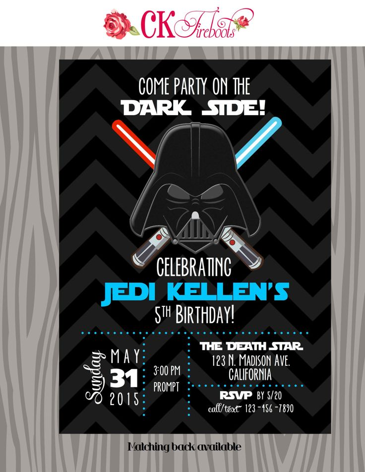 Vintage Inspired Darth Vader - Star Wars - Birthday Invite by ckfireboots on Etsy