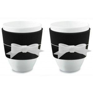 Espressokopjes 'Ribbon' Zwart - Baci Milano