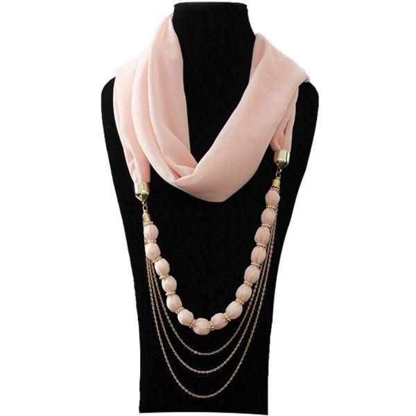 scarf jewelry | 2013 Lady Charm Special Bead Necklace Chiffon Scarf Jewelry
