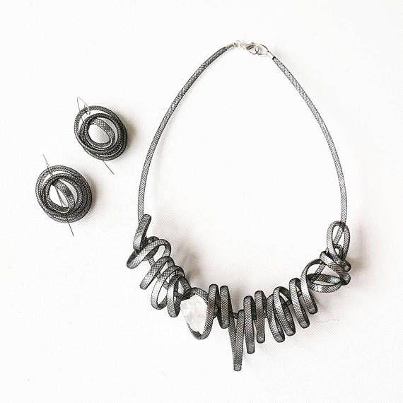 Statement necklace Jewelry set Modern earrings Bib necklace