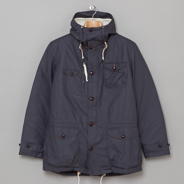 Universal Works Peak Parka in Navy Coated Cotton