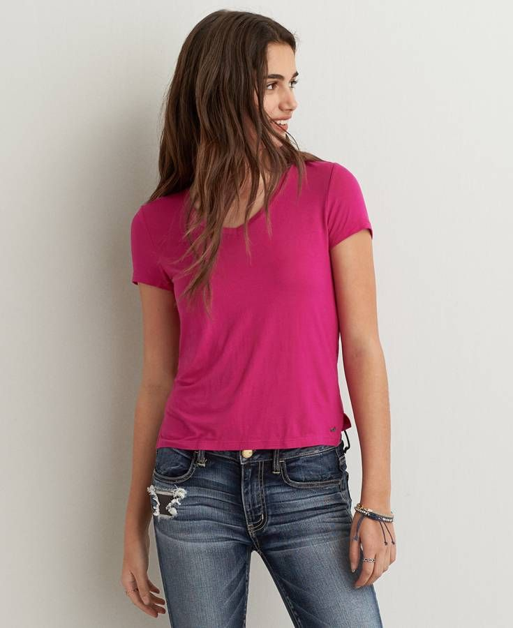 American Eagle Soft & Sexy V-Neck Baby T-Shirt, Women's ...