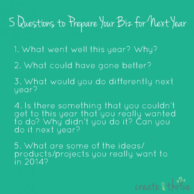 5 Questions to Prepare Your Biz for Next Year   Create & Thrive