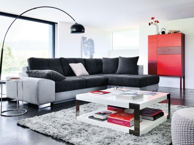 Canap gris et noir meuble rouge fly r ver son habitat pinterest salons d co et rouge Canape rouge et gris