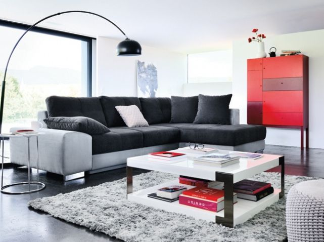Canapé gris et noir Meuble rouge Fly
