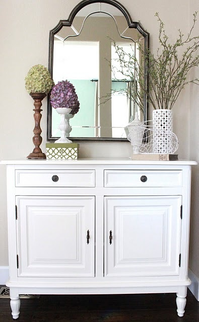 The mirror is great but I also love the white with black hardware.