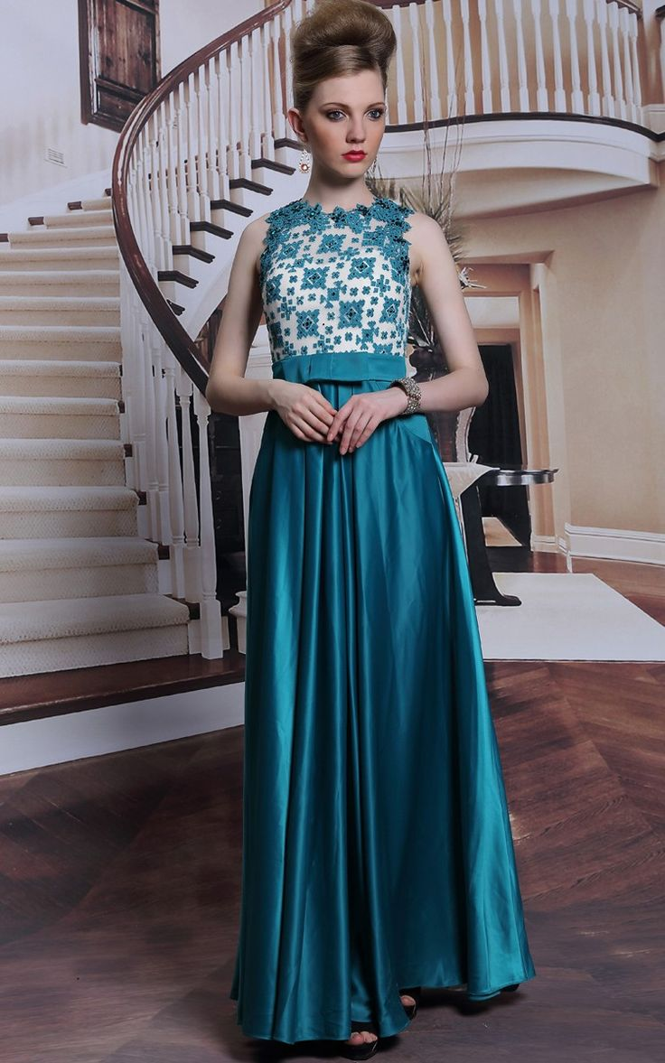 Beautiful Rhinestone Chiffon Peacock Blue Gown With Bowknot. Perfect for special occasions!  Exclusive offer from Shingar21: Buy this gorgeous evening wear gown (priced at $198) and get an Extra 13% Off! #shingar21