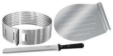 "Stainless steel. Fits cakes 10"" - 11"" diameter. Easily and safely slices up to 8 even layers. 3 pieces set includes adjustable slicing mold,..."