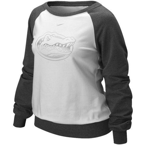 $43.95 Nike Florida Gators Ladies White-Charcoal Bling Long Sleeve Raglan Fashion Top