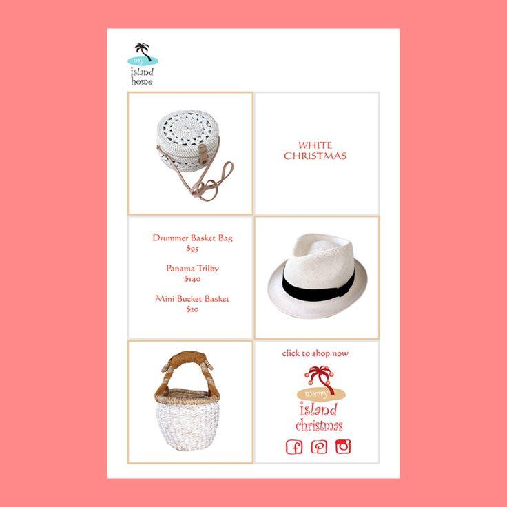 🎅🏻 White Christmas 🎅🏻 #white #accessories #bags #hats #baskets  #ticktock #santascoming #giftsforher #shoponline #myislandhome