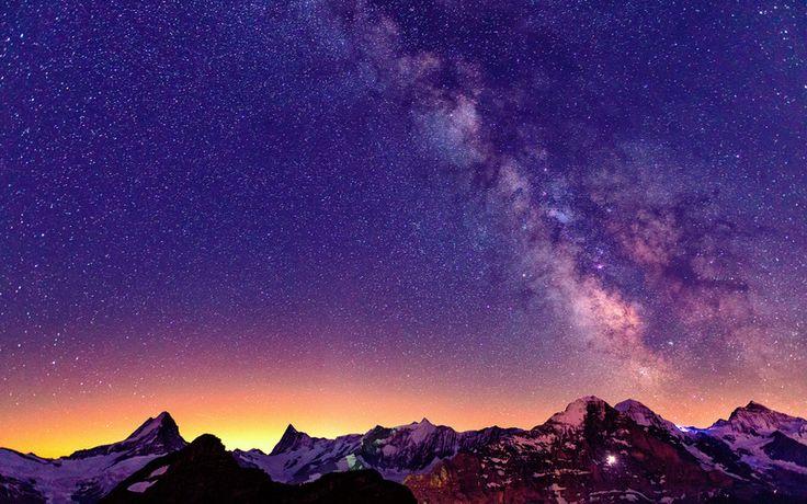 горы, свет, Швейцария, ночь, альпы, звезды, небо