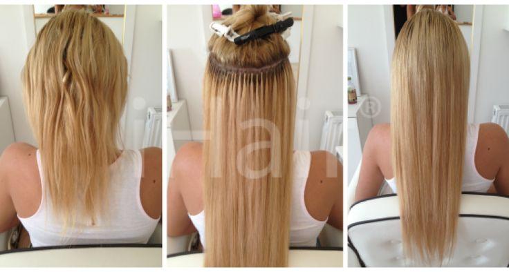 50 m-es hajhosszabbítás keratinos hőillesztéses technikával 9.3-as színű világosszőke hajfesték alkalmazásával