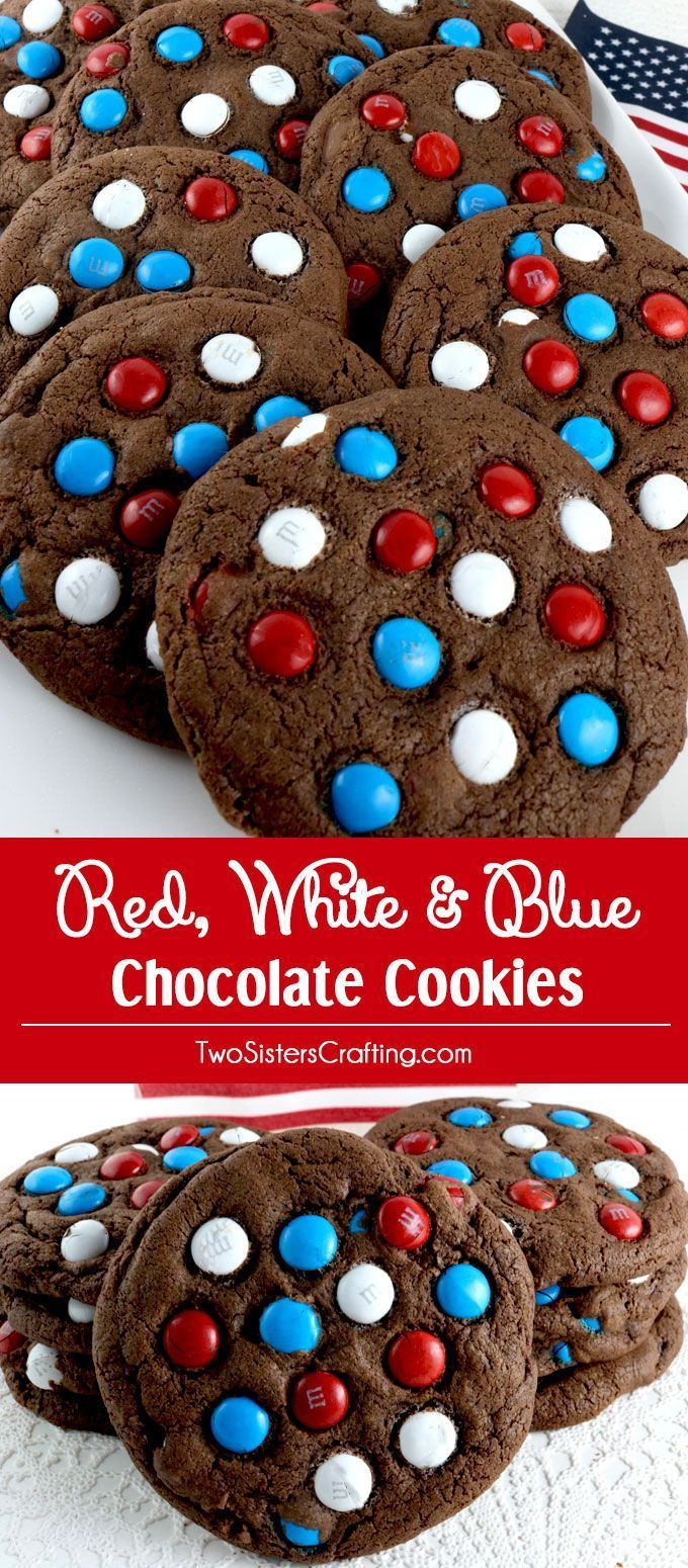 Red White and Blue Chocolate Cookies - a fun and patriotic dessert to bring to a 4th of July party, a Memorial Day BBQ treat or even an Olympics viewing party. These colorful Fourth of July Cookies are delicious and easy to make. Pin this delicious 4th of July treat for later and follow us for more great 4th of July Food Ideas.