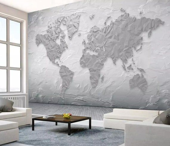 3d Abstract Geometric Grey Simple World Map Wallpaper Removable Self Adhesive Wallpaper Wall Mural Vintage Art Peel And Stick World Map Wallpaper Map Wallpaper Map Wall Mural