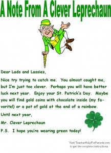 Leprechaun Traps Leprechaun Letter For St. Patrick's Day - Leave this with your child's leprechaun trap on St. Patrick's Day morning.