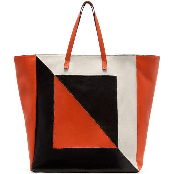 Zara Shopper Bag With Three Shades Of Orange ($169) ❤ liked on Polyvore