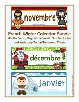 """FRENCH calendar winter bundle: November, December, and January. SAVE $1 by purchasing as a bundle!  Calendar themes include: """"Thanksgiving"""" for November, """"Christmas"""" for December, and """"Eskimos"""" for January. CANADIAN version also available. (S)"""