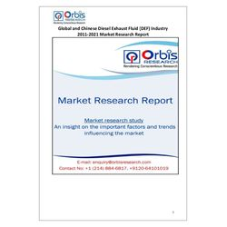 The 'Global and Chinese Diesel Exhaust Fluid (DEF) Industry, 2011-2021 Market Research Report' is a professional and in-depth study on the current state of the global Diesel Exhaust Fluid (DEF) industry with a focus on the Chinese market.   Access the full report @ http://www.orbisresearch.com/reports/index/global-and-chinese-diesel-exhaust-fluid-def-industry-2011-2021-market-research-report .  Request a sample for this report @ http://www.orbisresearch.com/contacts/request-sample/188892 .
