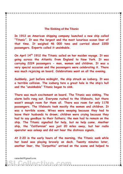 essay titanic story Titanic essay many people across the world watch films it is so popular because it puts a story on the screen and into life so that people can see it people watch films for the entertainment value, or are simply too lazy to read and enjoy the magic of a book.
