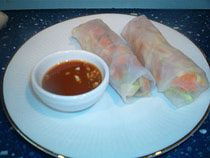 Vegetarian Thai spring rolls. Yum! And easily made ahead if we have enough fridge space to store.