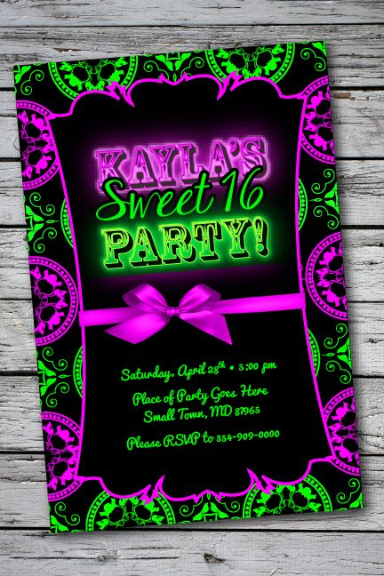 Glow in the dark party. Elegant yet Fun, Sweet 16 Birthday Party Invitation.