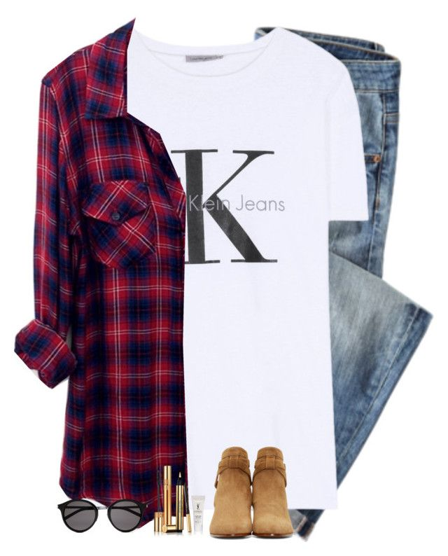 """""""Inspired"""" by maliaackermann ❤ liked on Polyvore featuring Calvin Klein Jeans, Rails and Yves Saint Laurent"""