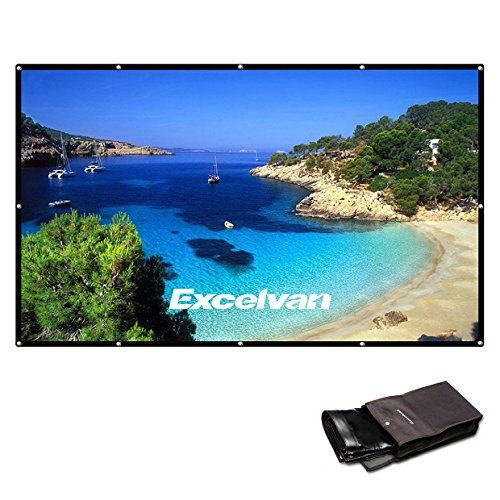 Excelvan 120 Inch 16:9 High Contrast Collapsible PVC HD 4K Portable Projector Screen with Hanging Hole Grommets for Front Projection Home Indoor and Outdoor Movie Match Party. 【Priority Warranty】: All Excelvan projector screens have two years substitution and 30 business days full discount guarantee, 100% fulfillment, best offer