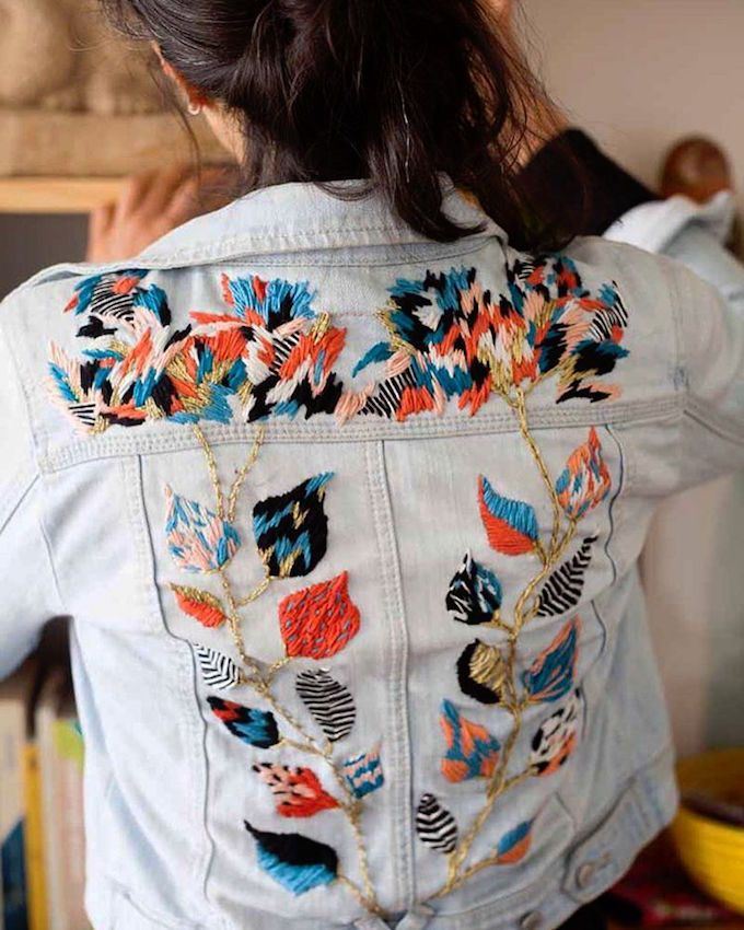 Embroidered denim by Trini Guzmán