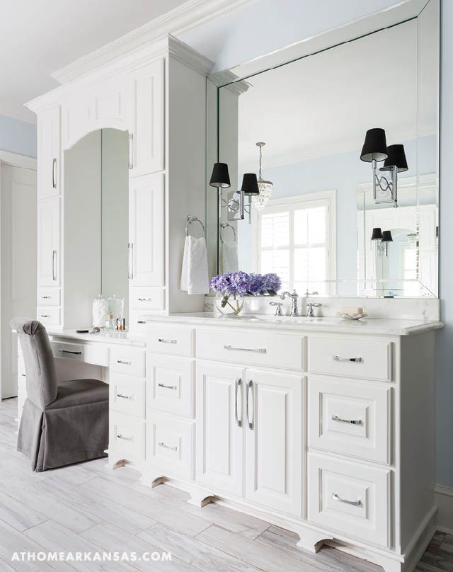 Sophisticated finishes, an airy palette, and personal pieces result in a timeless master bath design that is sure to be enjoyed for years to come | Polished Meets Practical | Richard Harp Homes | Laurie McFarland Design | Bathroom | White | Blue