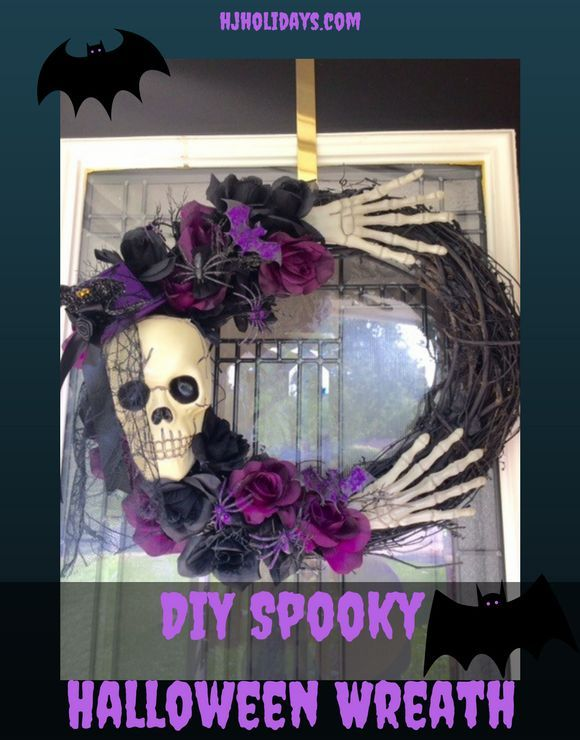 DIY Spooky Halloween Wreath Fall Halloween, Spooky halloween