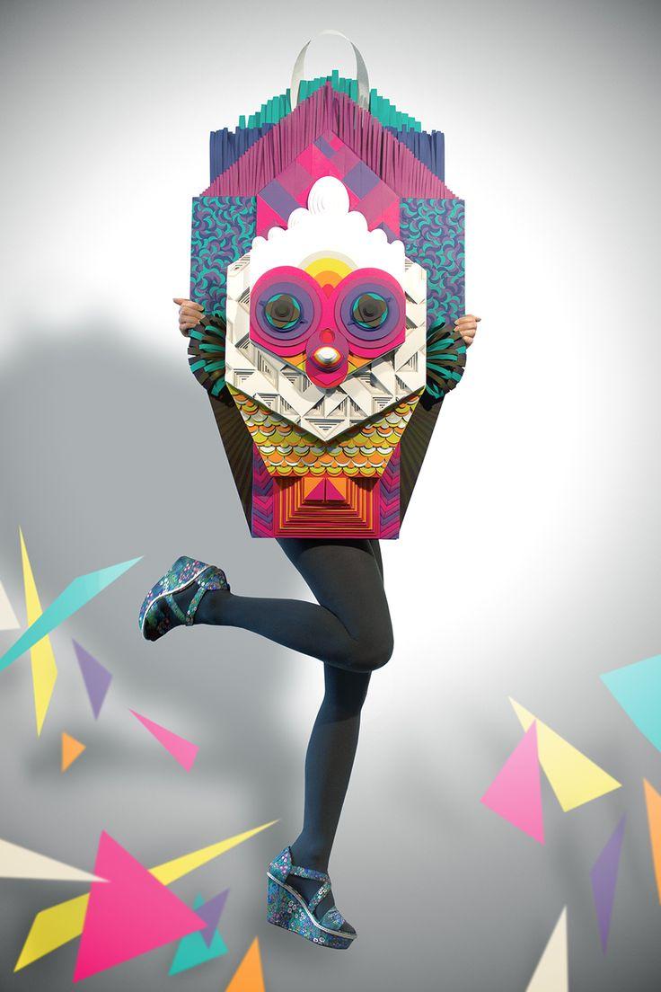 Maud Vantours FR | Arjowiggins 3D paper sculpture, colorfull, fashion photo