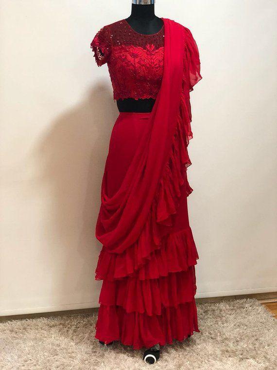 Ruffle Silaya Sari Saree Indian Ethnic Designer Georgette Party Wear Lehenga