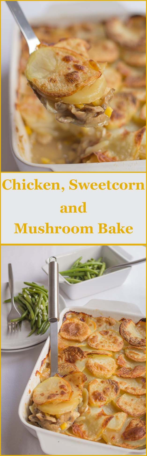 A nice, easy and delicious low cost family chicken sweetcorn and mushroom bake for when time is short.