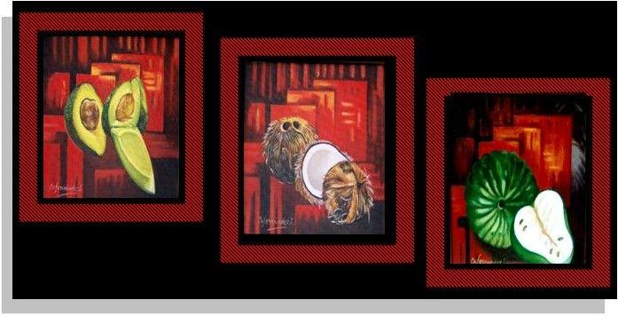 tres cuadros al oleo sobre lienzo