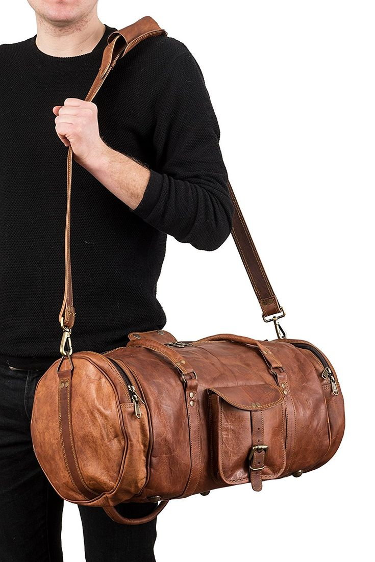 Berliner Bags Texas L Large Sports Bag Weekend Holdall Weekend Trip Carry-On Holdall Gym Bag Genuine Leather Vintage Design Women Men Quality New Brown Large 55cm 35Litres: Amazon.de: Luggage