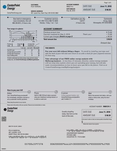 Centerpoint Provider Energy Electric Houston Texas Louisianna Missouri Ohio Utility Transmission Bill Statement Bill Template Gas Bill Energy Bill