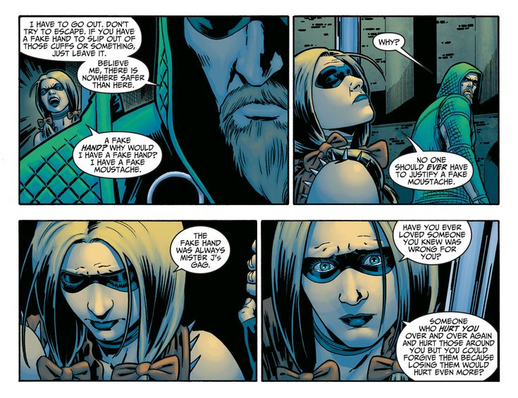 """harley and green arrow best quote """"no one should ever have to justify a fake mustache"""" click the link and check it out"""
