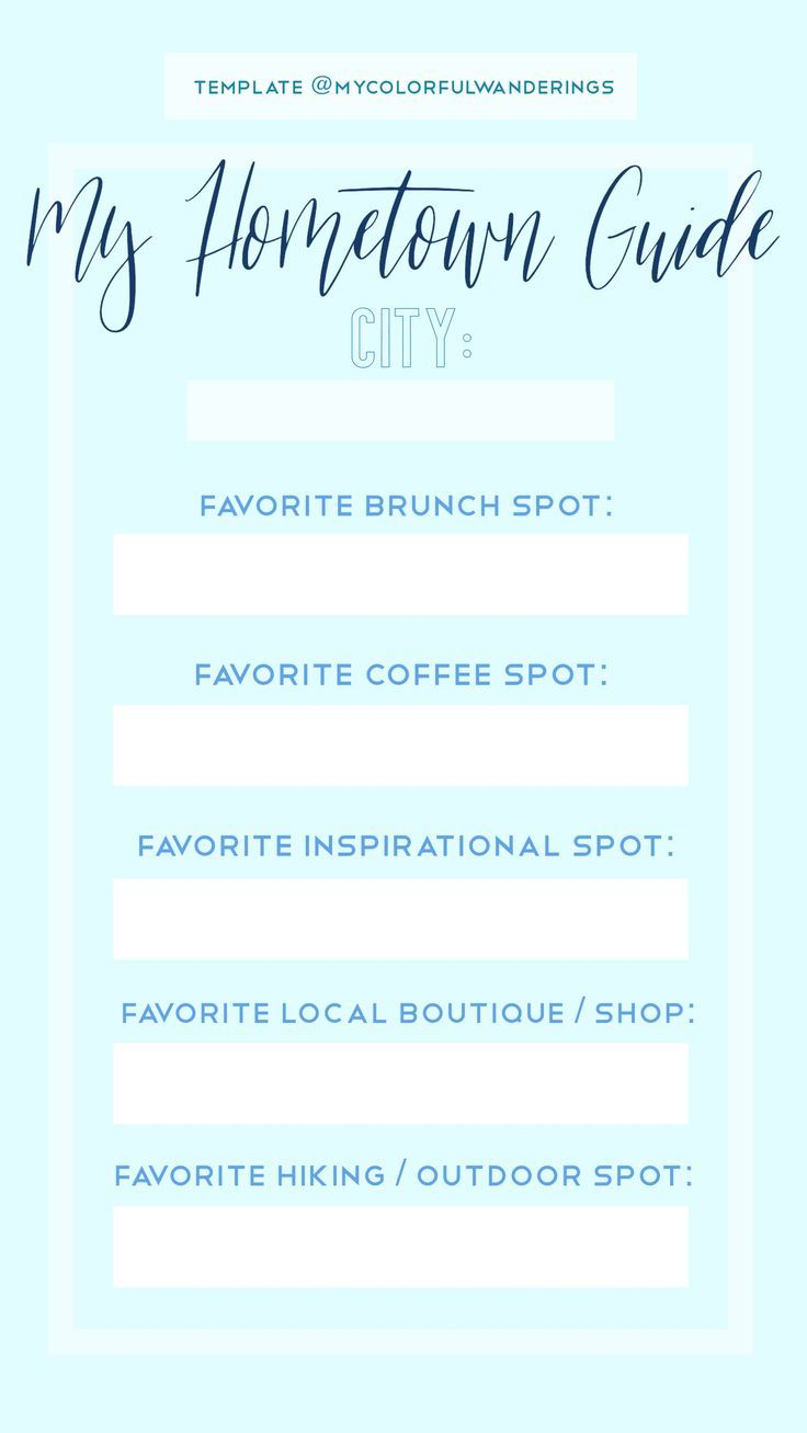 Free Instagram Template My Hometown Guide For Travel Bloggers Or General Use Instagram Story Template Instagram Template Instagram Graphics