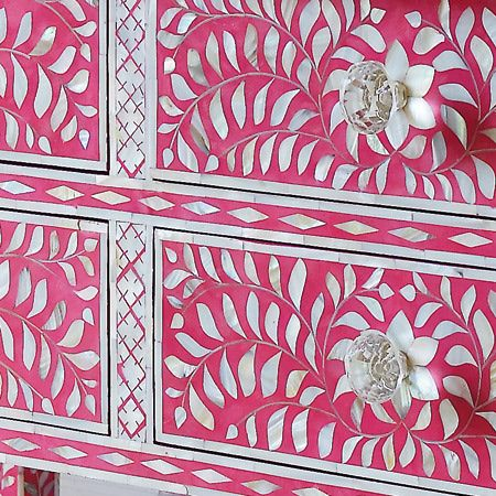 Detail: Paintings Furniture, Motherofpearl Inlay, Mothers Of Pearls Inlay Dg, Decor Pink, En Rose, Bones Inlay, Inlay Chest, Interiors Decor, Chest Of Drawers