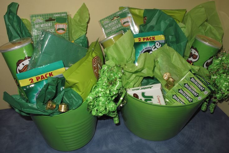St. Patrick's Day Baskets-filled with GREEN items! Dr. Marc E. Goldenberg, Dr. Kate M. Pierce, and Dr. Matthew S. Applebaum Pediatric Dental Office Greensboro, NC