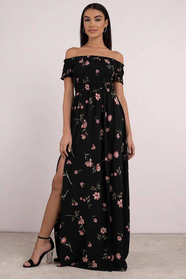 097e3c957d396 New Arrivals, Black Multi, Kate Floral Print Maxi Dress, Tobi ...